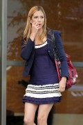 Mira Sorvino in Sailor Mini Dress Out in New York
